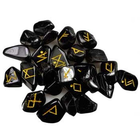 Black Tourmaline Rune set featuring gold colored Elder Futhark Runes.