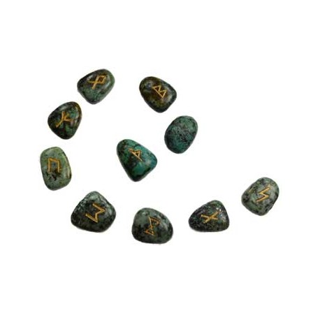 Turquoise Runes engraved with gold colored Elder Futhark Runes.