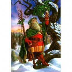 Gathering the Mistletoe Briar Yule Card BY02