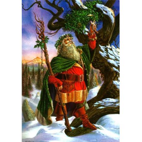 Gathering the Mistletoe Briar Yule Card BY02