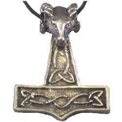 Pewter Ram's Head Thor's Hammer Pendant