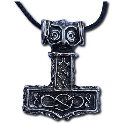 Pewter Infinity Knotwork Thor's Hammer Pendant