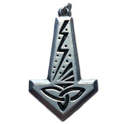 Lightning Pewter Thor's Hammer Pendant