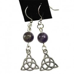 Gemstone Triquetra Pewter Earrings