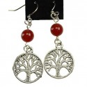 Gemstone Yggdrasil Pewter Earrings
