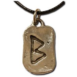 Rustic Berkana Pewter Rune Pendant
