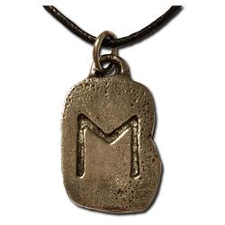 Rustic Ehwaz Pewter Rune Pendant