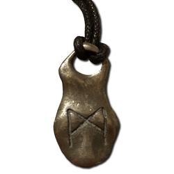 Mannaz Pewter Rune Pendant