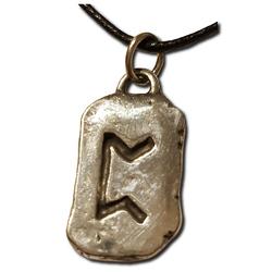 Rustic Peorth Pewter Rune Pendant