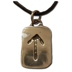 Rustic Teiwaz Pewter Rune Pendant