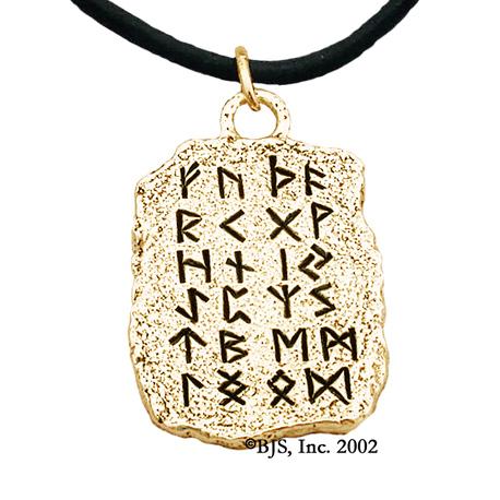 Gold Rune Tablet Pendant Black Runes