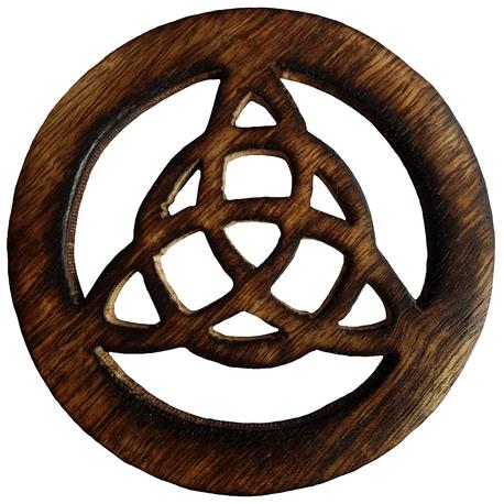Wooden Triquetra Altar Tile Front