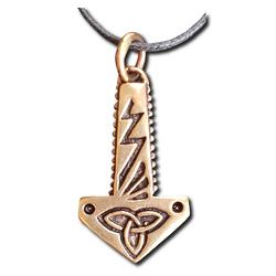 Bronze Lightning Thor's Hammer Pendant