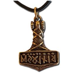 Bronze Runic Mjolnir Thor's Hammer Pendant
