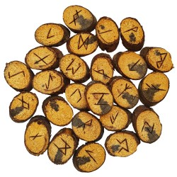 Hickory rune set featuring the Elder Futhark burned onto slices of a Hickory branch. Set comes with a black velveteen pouch.