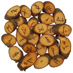 Honey Locust rune set featuring the Elder Futhark burned onto slices of a Honey Locust branch. Set includes rune bag.