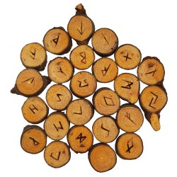 Maple rune set featuring the Elder Futhark burned onto slices of a Maple branch. Rune set comes with a black velveteen pouch.