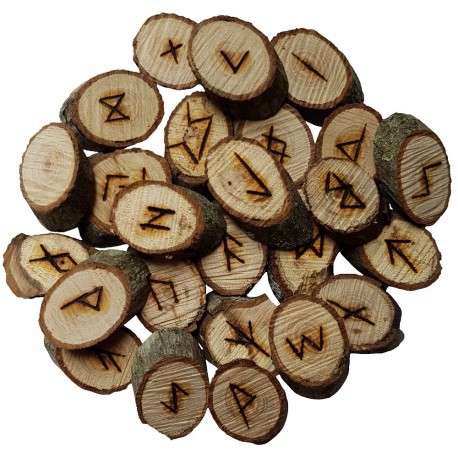 Oak rune set featuring the Elder Futhark burned onto slices of an Oak branch. Rune set comes with a black velveteen pouch.