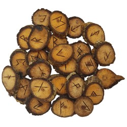 Walnut rune set featuring the Elder Futhark burned onto slices of a Walnut branch. Rune set comes with a black velveteen pouch.