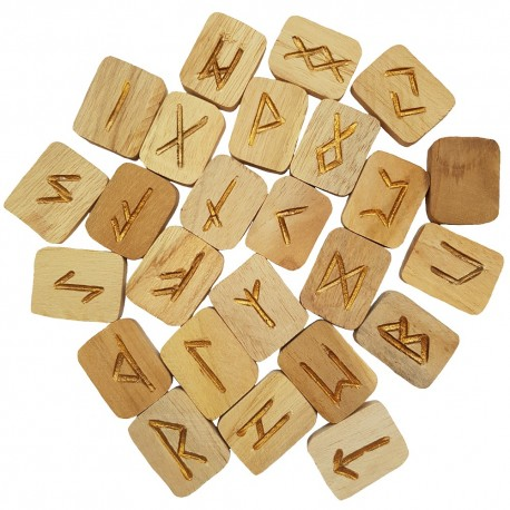 Wooden Rune Tiles with featuring gold Elder Futhark runes. Set includes purple pouch and booklet.