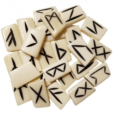 Bone runes made of buffalo bone featuring black Elder Futhark runes. Set includes a black velveteen pouch.