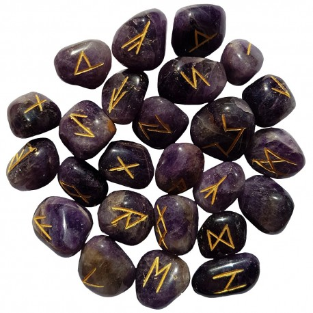 Tumbled smooth Amethyst runes feature gold colored Elder Futhark runes and come with a black velveteen rune pouch.