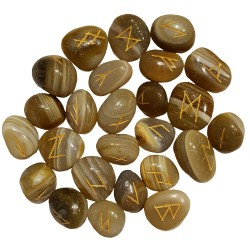 Tumbled smooth Banded Agate runes feature gold colored Elder Futhark runes and come with a black velveteen rune pouch.