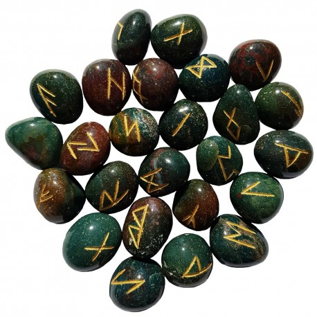Tumbled smooth Bloodstone stone runes feature gold colored Elder Futhark runes and come with a black velveteen rune pouch.