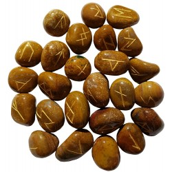 Tumbled smooth Camel Agate runes feature gold colored Elder Futhark runes and come with a black velveteen rune pouch.
