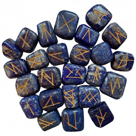 Blue Lapis rune stone set with gold colored Elder Futhark runes. Rune set comes with a black velveteen rune pouch.