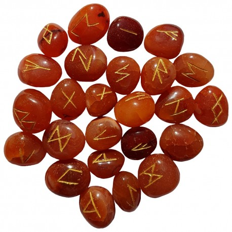 Set of 25 Carnelian rune stones featuring the Elder Futhark runes in gold lettering. Each set comes with a black rune pouch.