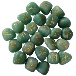 Tumbled Green Aventurine runes feature gold colored Elder Futhark runes and come with a black velveteen rune pouch.