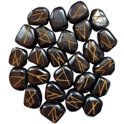 Tumbled Hematite stone runes feature gold colored Elder Futhark and come with a black velveteen rune pouch.