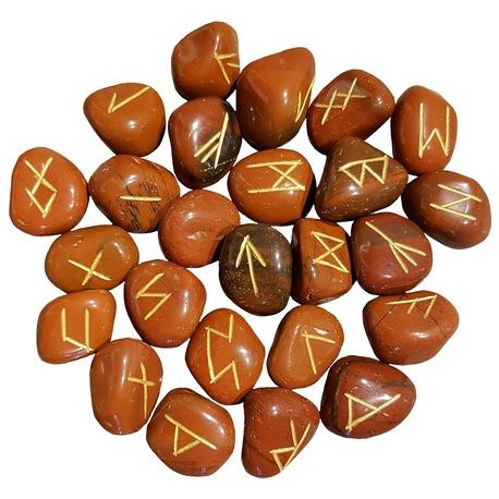 Red Jasper runes feature gold colored Elder Futhark runes. Each rune set comes with a black velveteen rune bag.