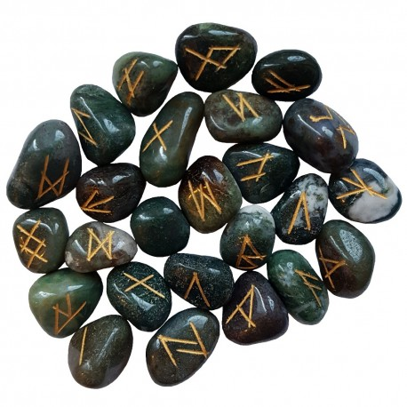Moss Agate rune stones engraved with the Elder Futhark colored gold. Each set comes with a black rune pouch.