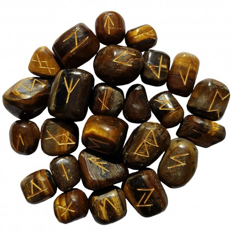 Large smooth Tiger's Eye runes feature gold colored Elder Futhark runes and come with a black velveteen rune pouch.