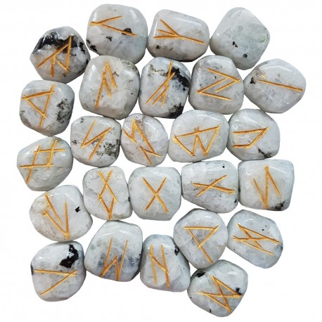 White Rainbow Moonstone runes feature gold colored Elder Futhark runes. Each set of runes comes with a black rune pouch.