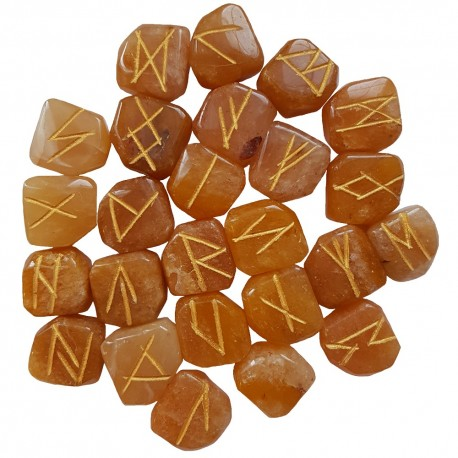 Peach Aventurine runes feature gold colored Elder Futhark runes. All sets come with a black velveteen rune pouch.
