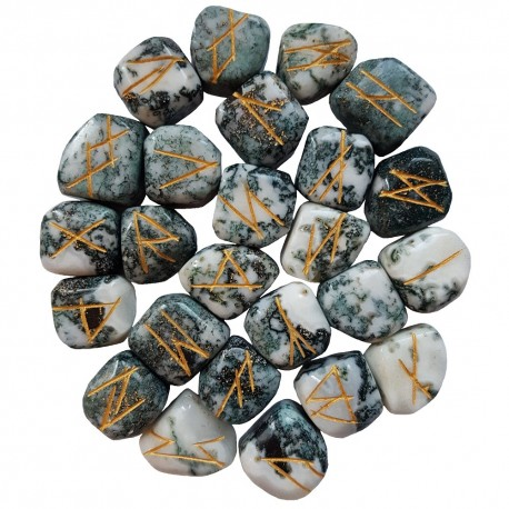 Tree Agate runes feature gold colored Elder Futhark runes and come with a black velveteen rune pouch.