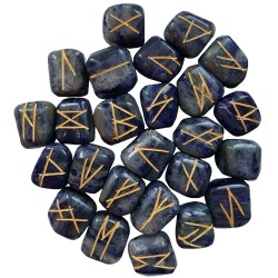 Blue Sodalite Runes with golden Elder Futhark markings. Each set comes with a black rune pouch.