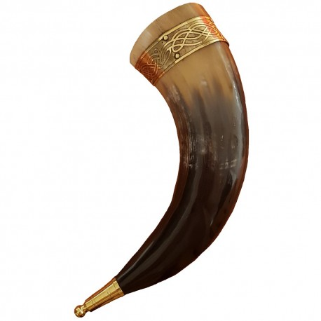Tall Celtic Rim Drinking Horn with embossed metal rim shown from the side.