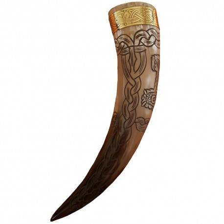 Thor's Hammer Drinking Horn with slight curve shown from the side.
