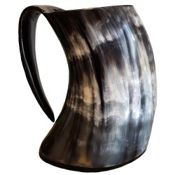 Drinking Horn Tankard showing the side view of a multicolored tankard.