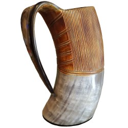 Large Drinking Horn Tankard shown from the side.