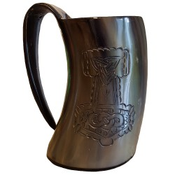 Thor's Hammer Drinking Horn Tankard showing the engraving from the side.