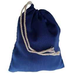 Three inch by four inch blue cotton rune bag with white drawstring. Shown closed holding a stone rune set.