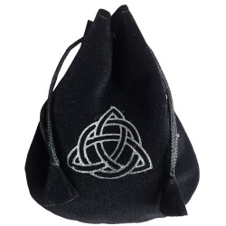 Black and silver triquetra rune bag shown closed holding a stone rune set.
