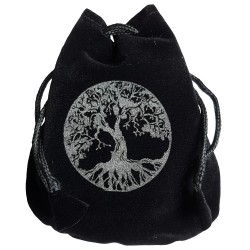Black and silver Yggdrasil rune bag shown closed holding a stone rune set.