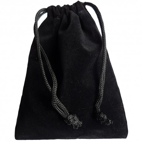 Black colored drawstring velveteen bag shown closed holding a stone rune set.