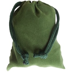Small green colored drawstring velveteen bag shown closed holding a stone rune set.
